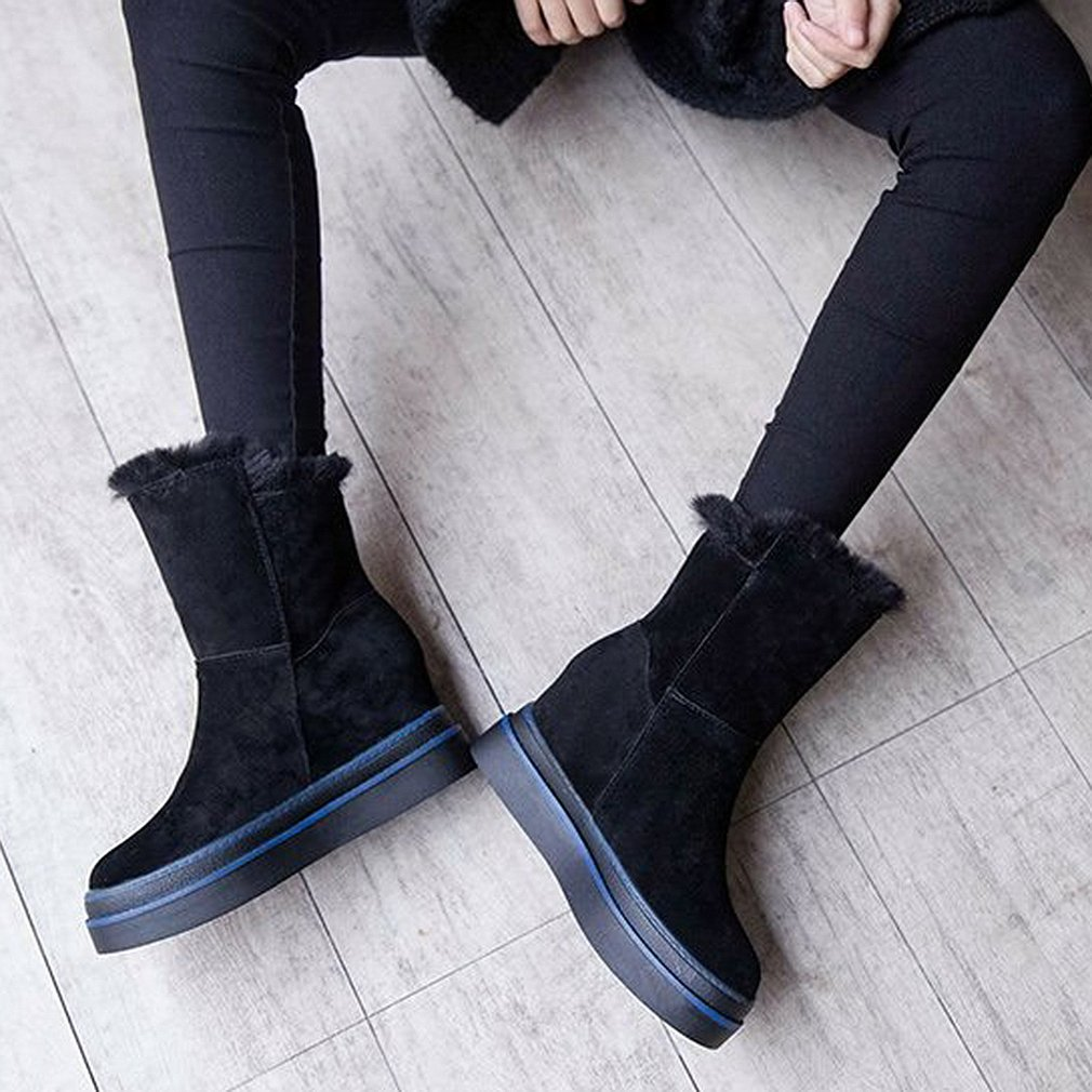 Fashion Winter Warm Thickening Snow Boots Women Ankle Boots Fur Flat Boots