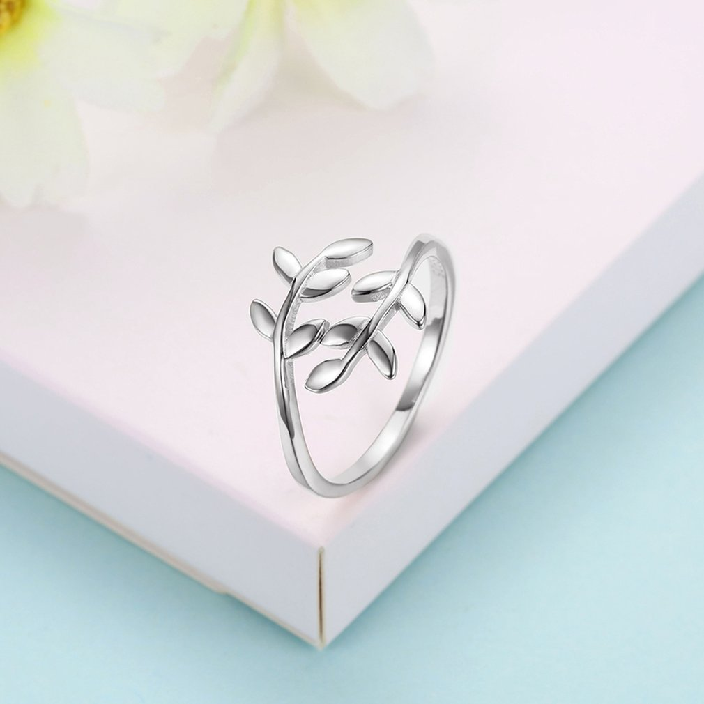 Women Simple Beautiful 925 Sterling Silver Tree Leaves Resizable Opening Rings