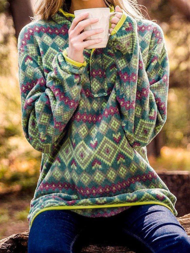 Boho Aztec Western Pullover Top