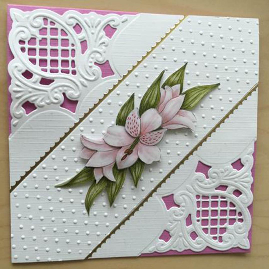Flower Corner Cutting Die Embossing Scrapbooking DIY Craft Paper Card Stencil