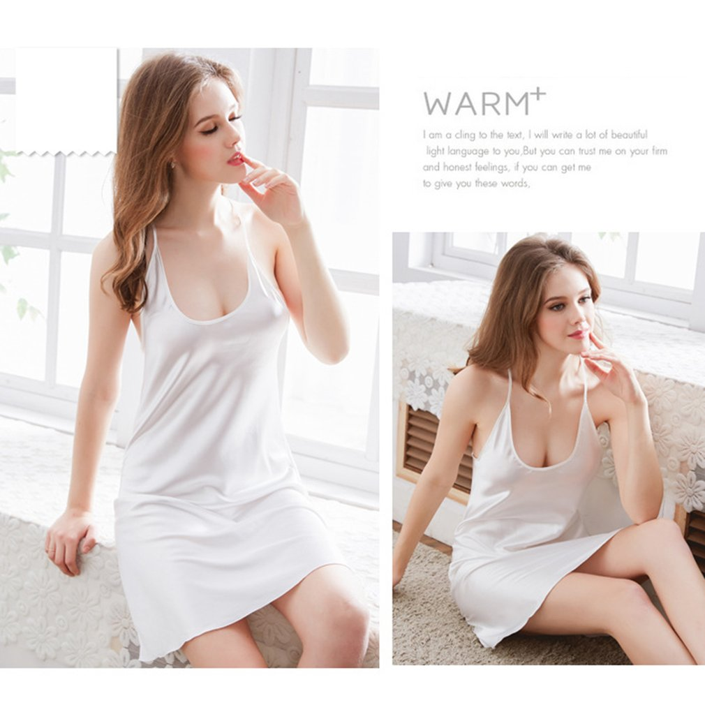 Simulated Silk Sleepwear Dress Solid Color Sexy Backless Halter Nightdress