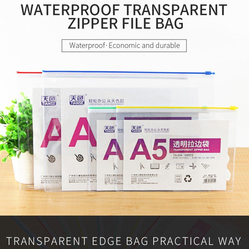 20 pieces/pack Waterproof Transparent Zipper File Bag PVC A5/A4 Paper Size