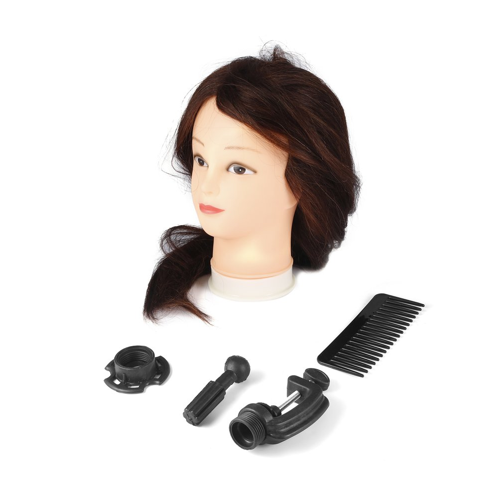 26 inch Dark Brown Long Hair Dolls Heads Training Mannequin Makeup Practice