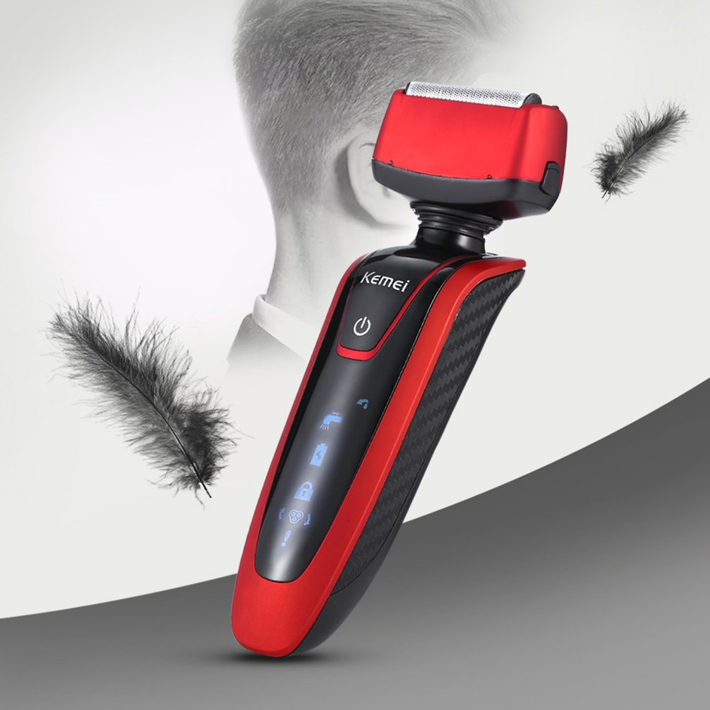 KEMEI KM-5889 Electric Men Shaver Rechargeable 3D Washable Twin Blades Trimmer