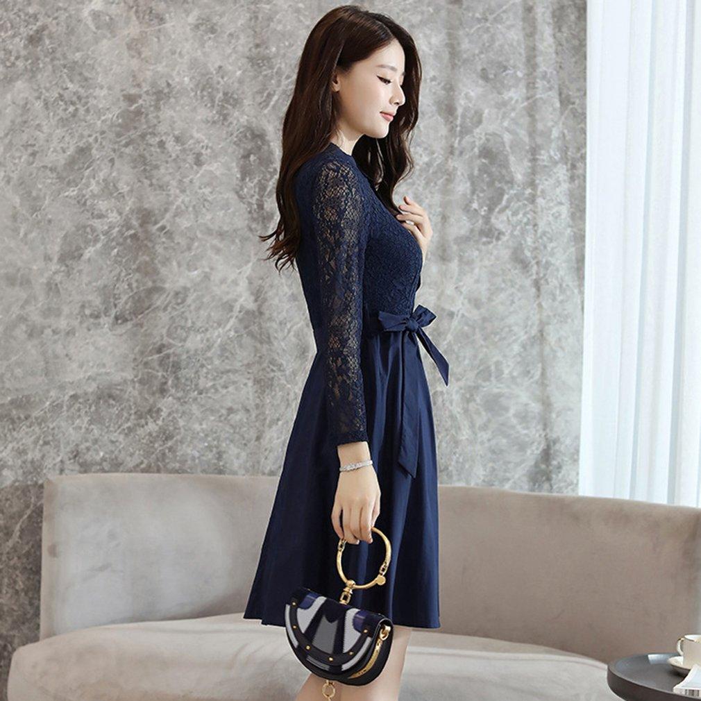 Autumn Fashion Womens Lace Hollow Dress Long Sleeve Slimming A-line Dress
