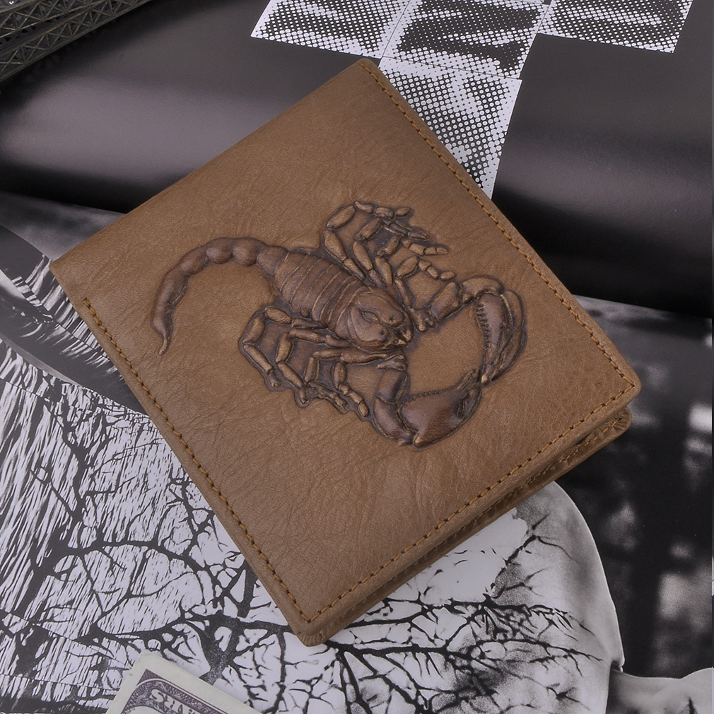 Scorpion Printed PU Leather Men Business Thin Wallet Protable Money Purse