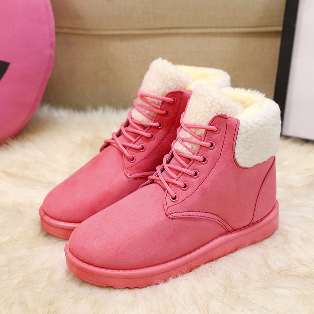 Fashion Female Winter Snow Boots Warm Fur Plush Insole Rubber Sole Ankle Boot
