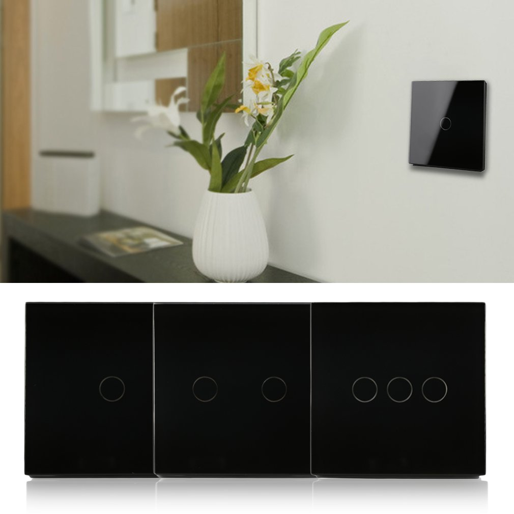 Black Remote Control Crystal Glass Panel Touch Light 1/2/3 Gang Wall Switch