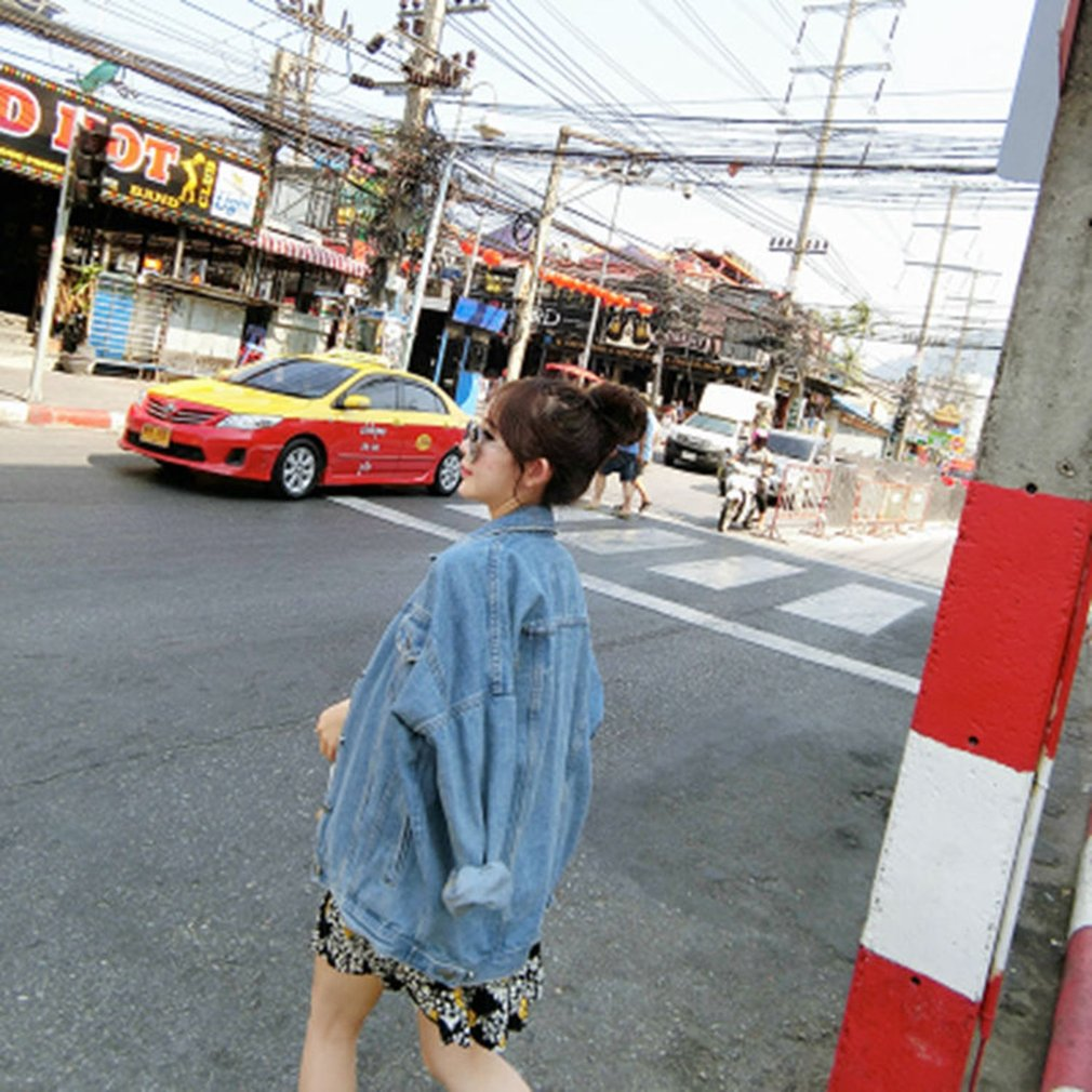 Popular Loose Coat Long Sleeved Single Breasted Buckle Denim Jacket For Woman