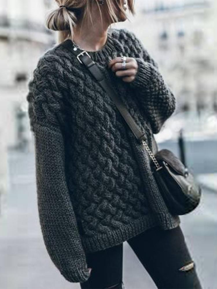 Casual Solid Colour Long Sleeve Sweater