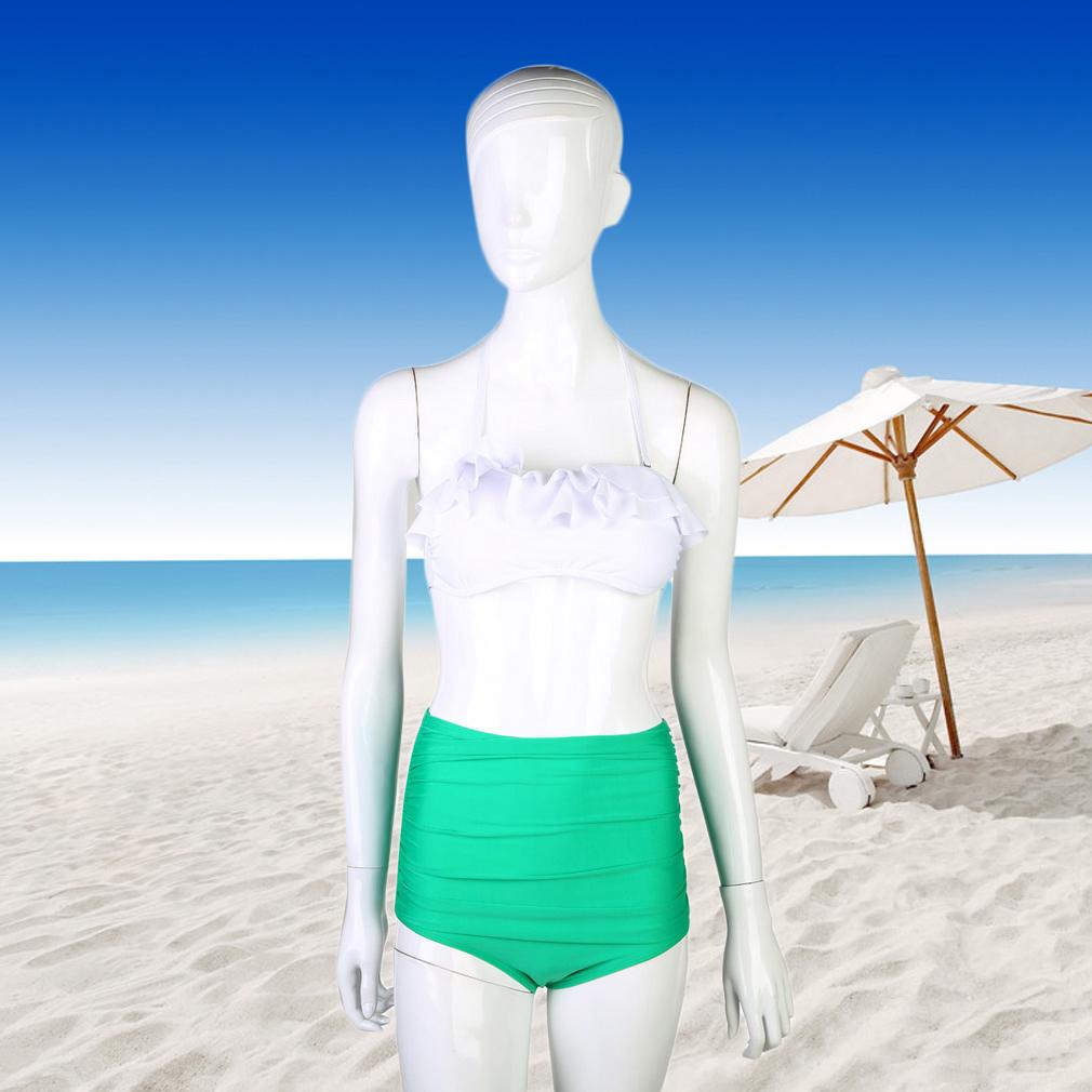 Sexy Women Bikini Set Swimsuit Push-up Padded Bandeau Top & High Waist Bottom