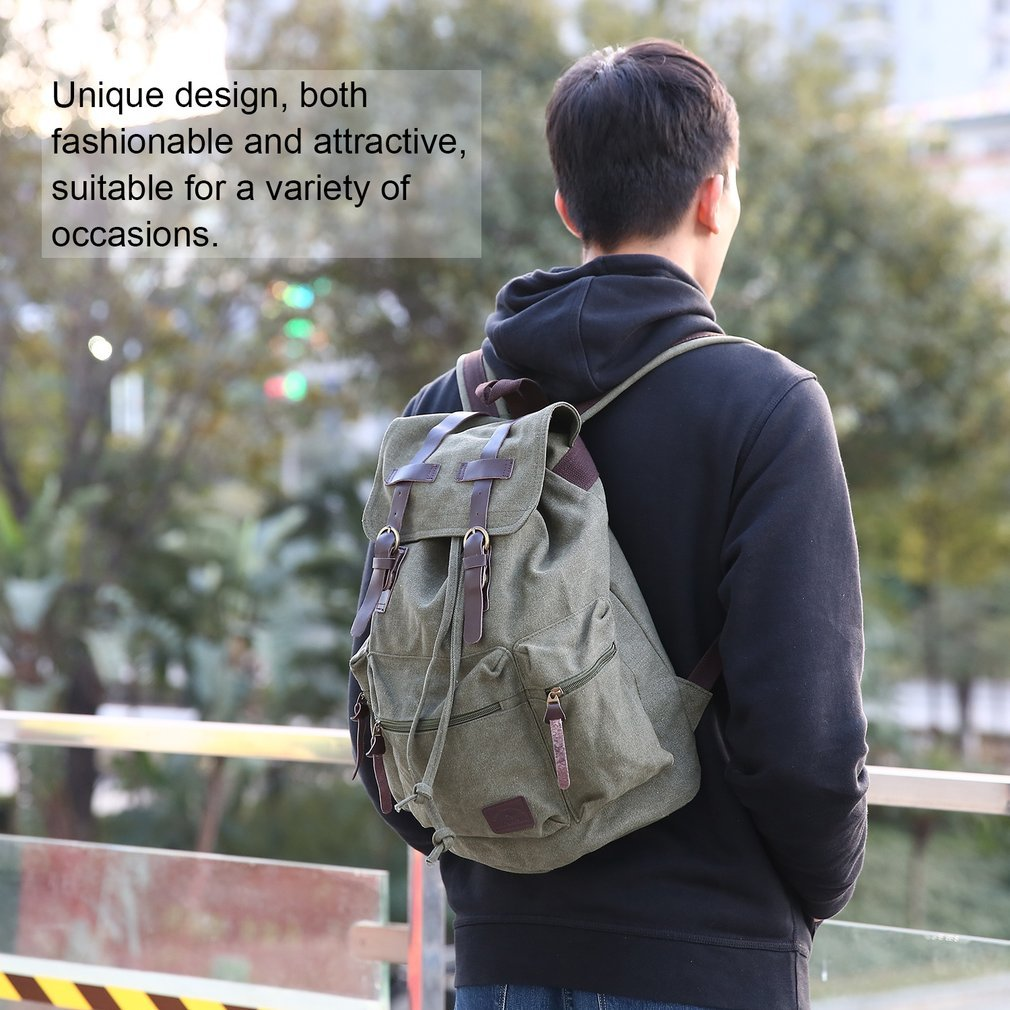 Vintage Style Canvas Backpack Outdoor Travel Leather Strap Large Capacity Backpack For Teenagers Student Schoolbag Women Men