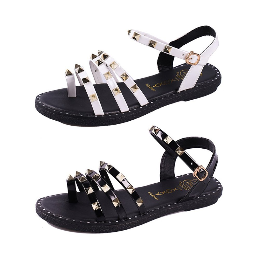 Fashion Rivet Decoration Women Summer Sandals Open Toes Students Girls Shoes Comfortable All-match Flat Soled Female Sandals