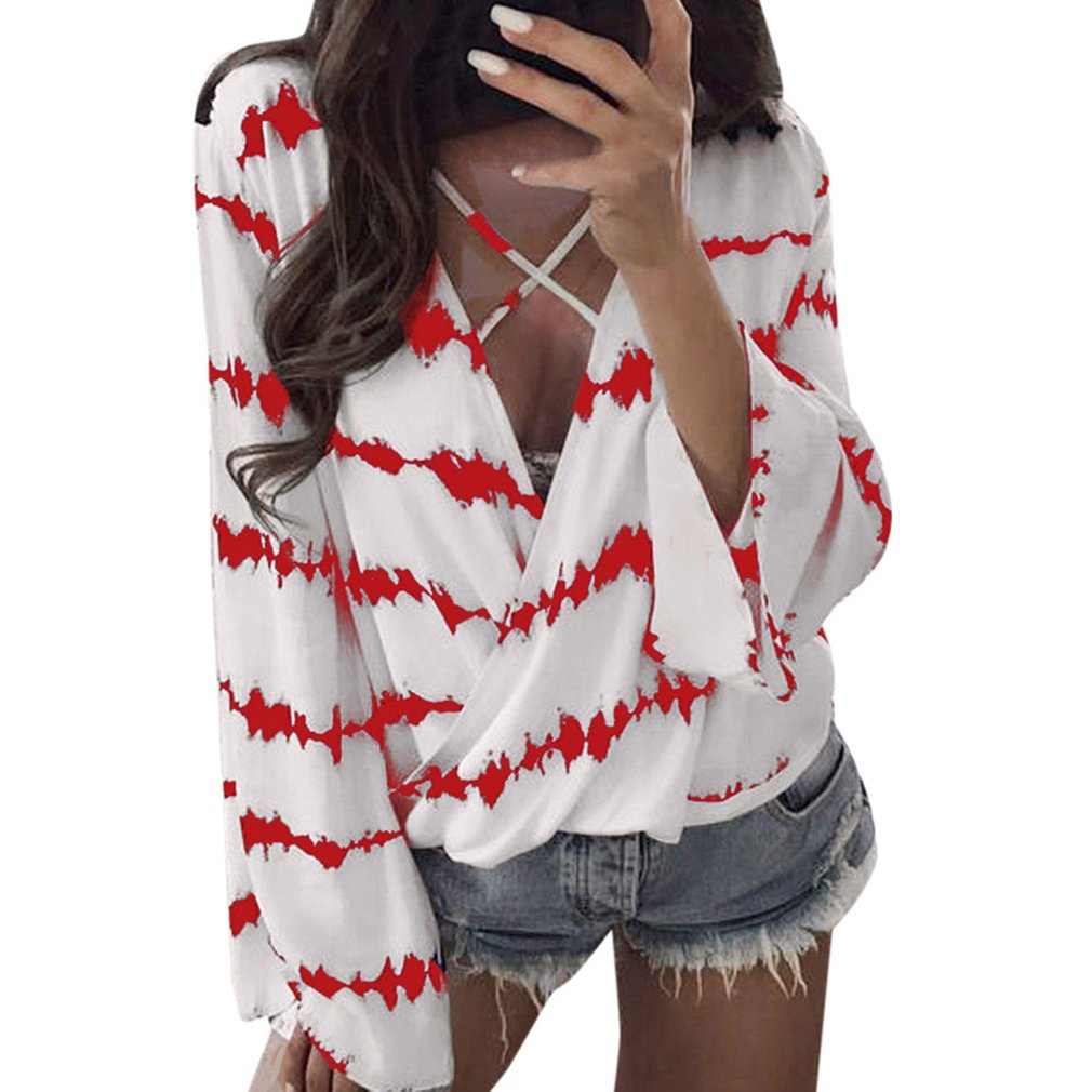 Deep-V Fashion Cross Sexy V-neck Shirt Summer Beach Lady Female Tee Loose Comfortable Trumpet Sleeves Tops Daily Casual Wear