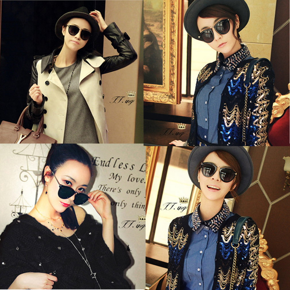 Fashion Round Glass Retro Women Sunglasses Plastic Frame Arrow Glasses Eyewear