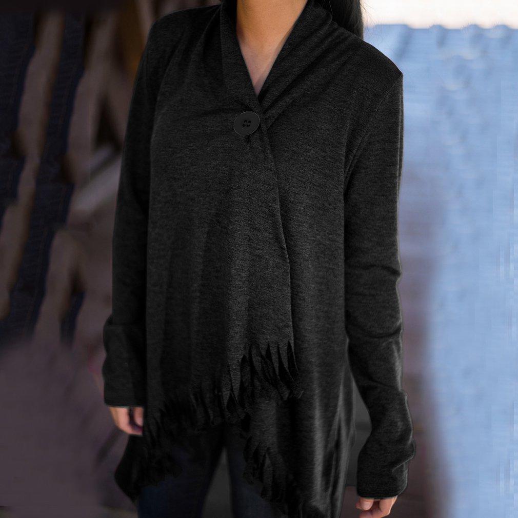 Women Small Lapel Tassel Irregular Fringed Cardigan Jacket Coat Casual