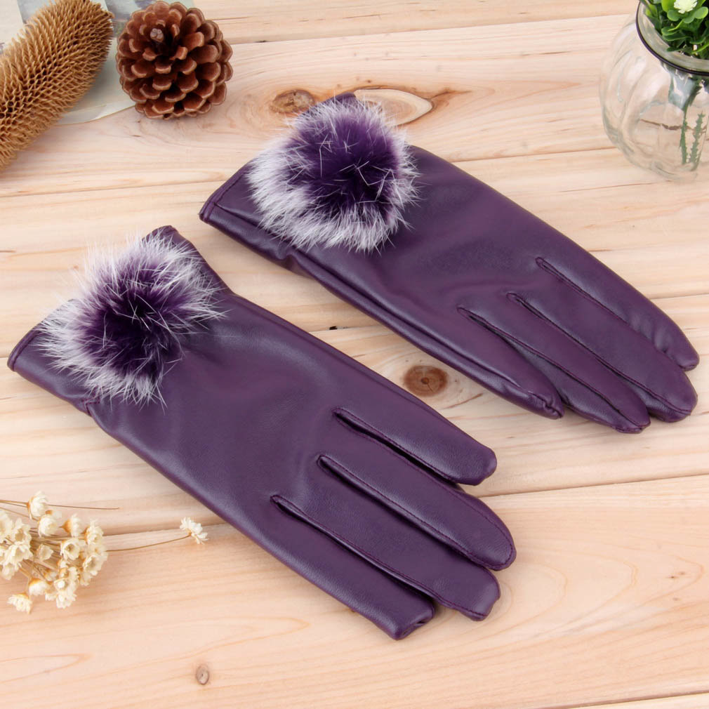 Women PU Simulated Leather Fur Warm Winter Finger Gloves Mittens Soft Lined