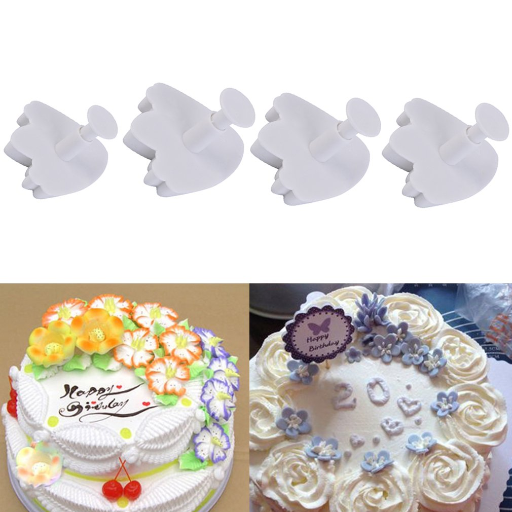 4Pcs Tulips Cake Decor Cookie Mold Plunger Cutter Christmas Party DIY