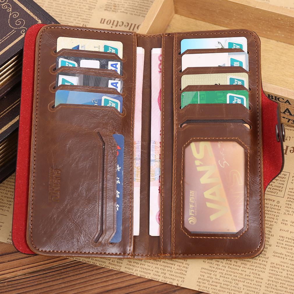 GUBINTU Fashion Men Long Style Money Wallet Vintage PU Leather Card Holder