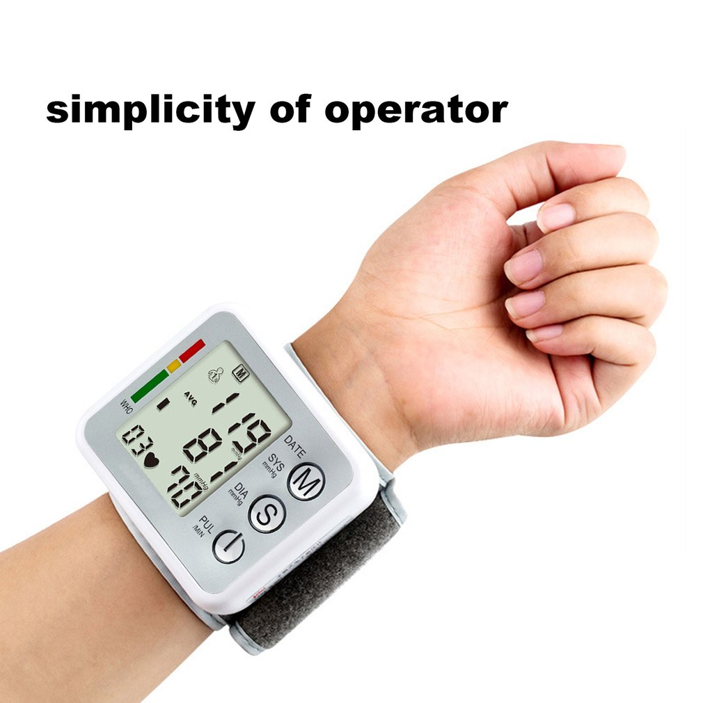 Electronic Wrist Blood-pressure Meter LCD Screen Monitor English Voice