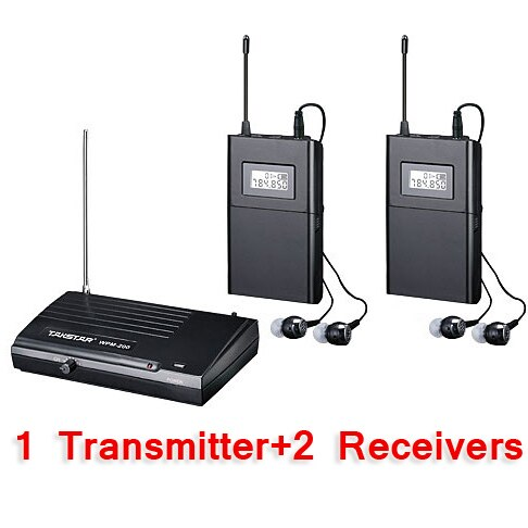 Takstar WPM-200/WPM 200 Wireless Monitor System In-Ear Stereo Wireless Headset Stage monitors system 1 Transmitter 2 Receivers