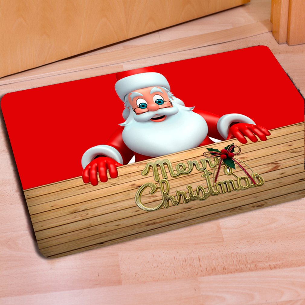 Anti-slip Kitchen Door Mat Washable Bathroom Door Mat Christmas Floor Carpet