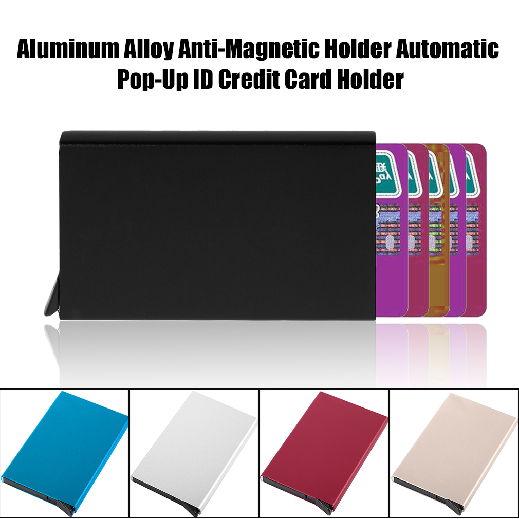 Aluminum Alloy Anti-Magnetic Holder Automatic Pop-Up ID Credit Card Holder