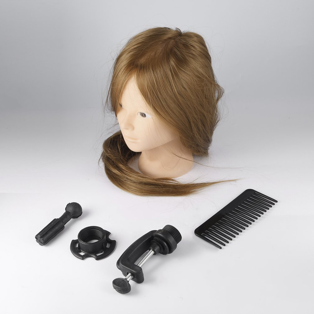 26 inch Brown Long Hair Dolls Heads Training Mannequin Makeup Practice