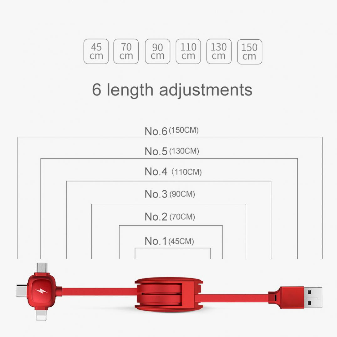 1.5m Telescopic 3-in-1 Micro USB Type-C Data Sync Charging Cable for Android iOS