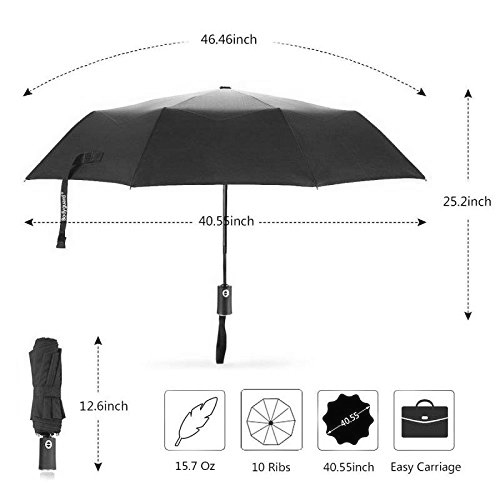 Travel Umbrella 50 MPH Windproof Umbrella and 210T Thread-Count Fabric 10 Ribs Reinforced Windproof Frame Auto Open/Close Slip-Proof Handle for Easy Carry (Black)