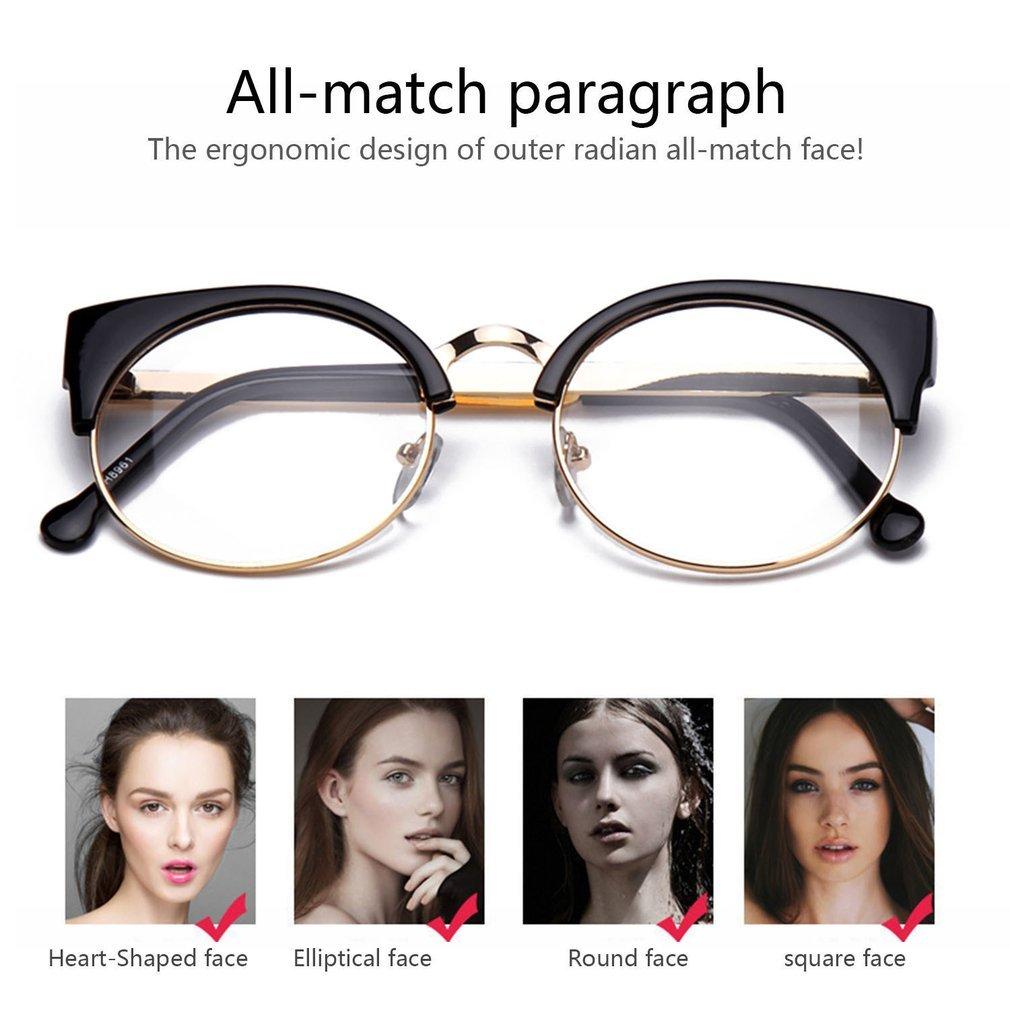 Vintage Women Men Sun Glasses Metal Half Frame Cat Eye Eyewear Prescription Optical Myopia Computer Clear Glasses BZ330