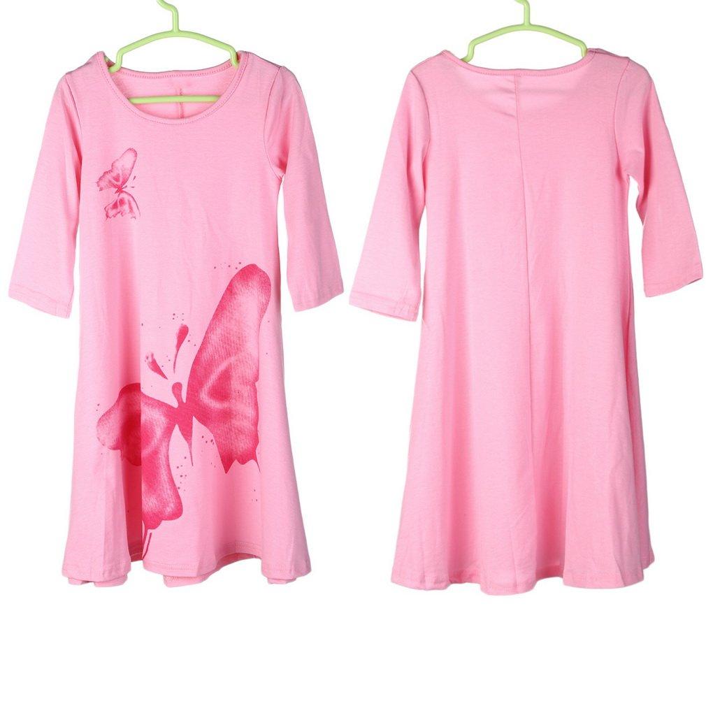 Fashion Big Butterfly Pattern Child Dress 100% Cotton Children Girl Dress