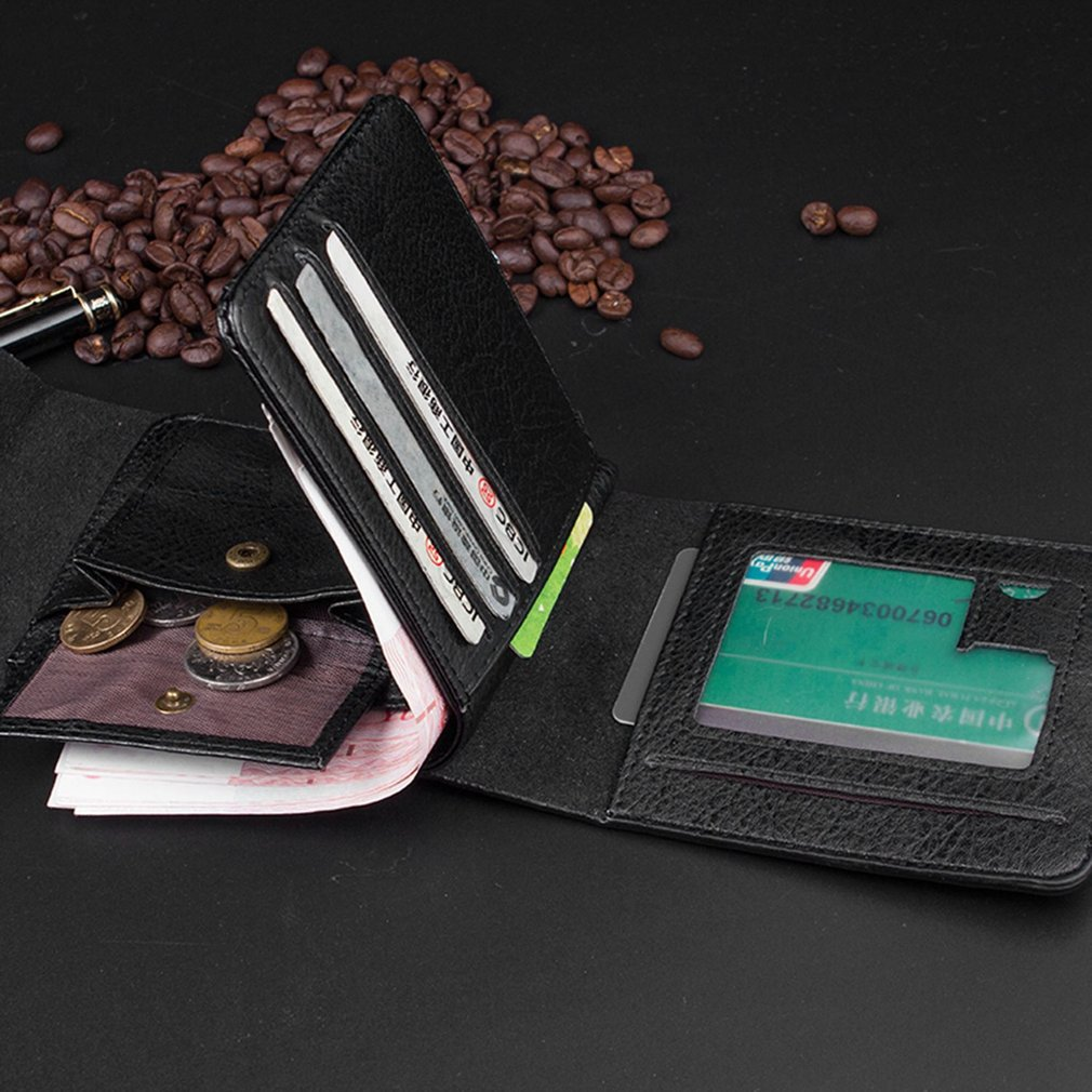Luxury Man Magnetic Buckle PU Leather Wallet Purse Clutch Short Card Holder