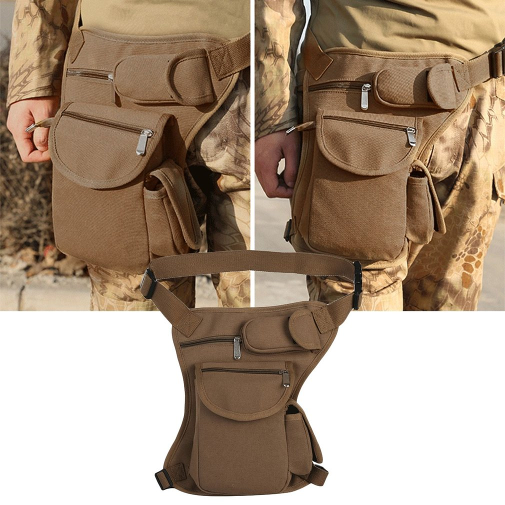 Waterproof Men Canvas Waist Bag Lightweight Solid Color Tactical Waist Leg Bag