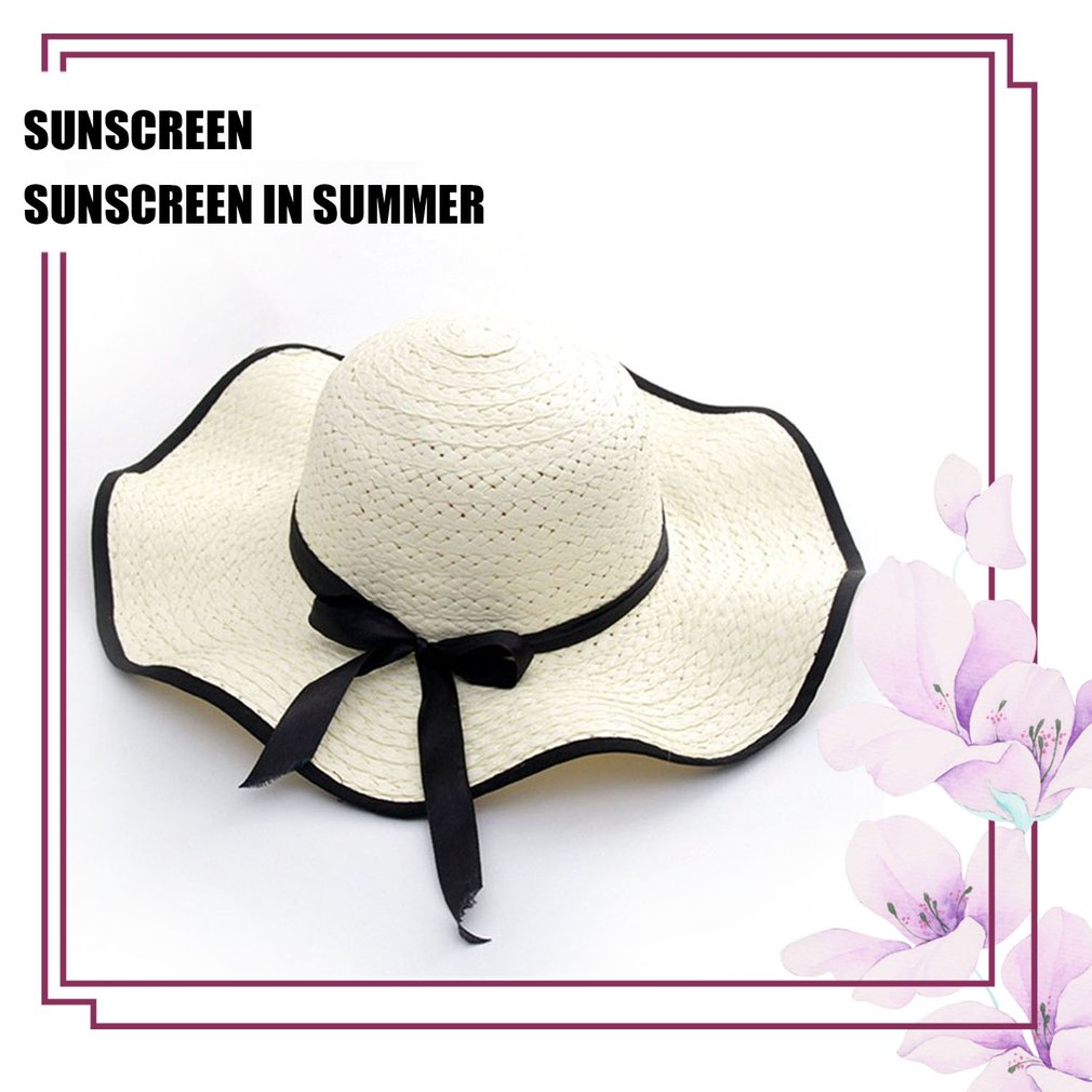 Fashionable Design Women Summer Round Flat Top Straw Beach Hat Sunscreen Hat