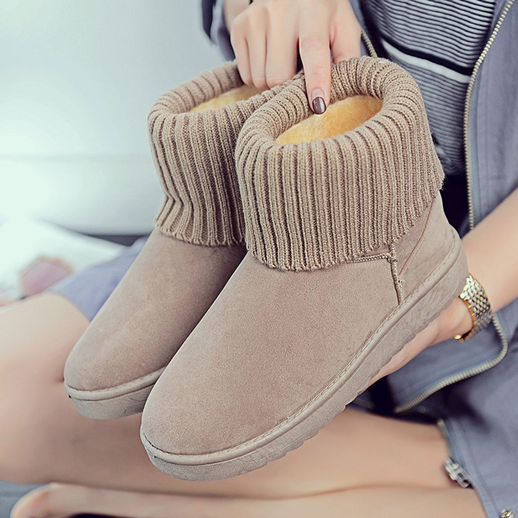 2017 Women Winter Snow Boots Warm Thickened Knitting Wool Cotton-padded Shoes