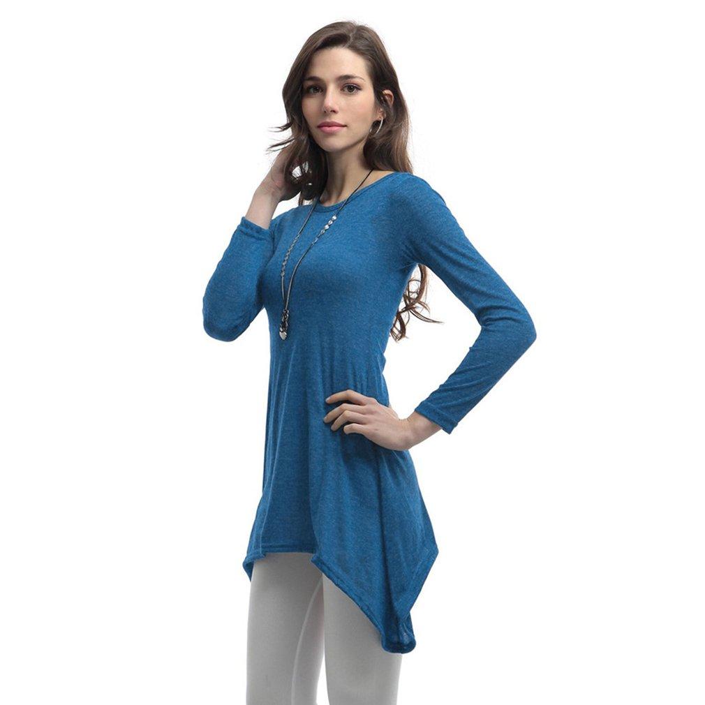 Casual Solid Color Lady Dress Long Sleeve Asymmetrical Hem Round Neck Dress