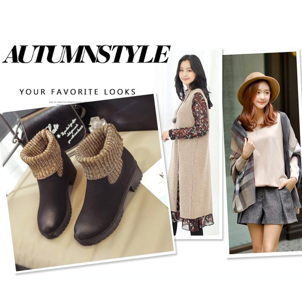 Autumn And Winter Woman Fashion Keep Warm Ankle Boots Chunky Heel Anti-slip