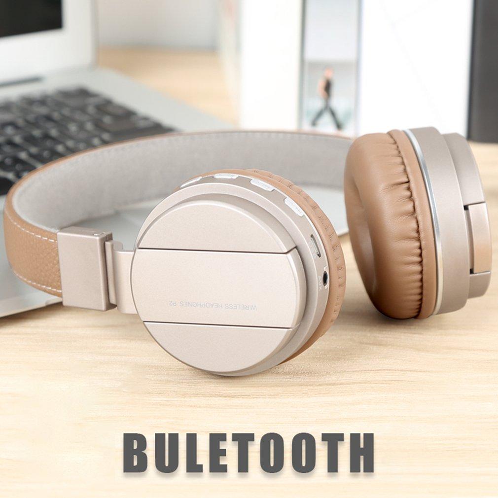 Foldable Design P2 Wireless Bluetooth Stereo Bass Soft Music TF Card Headphone