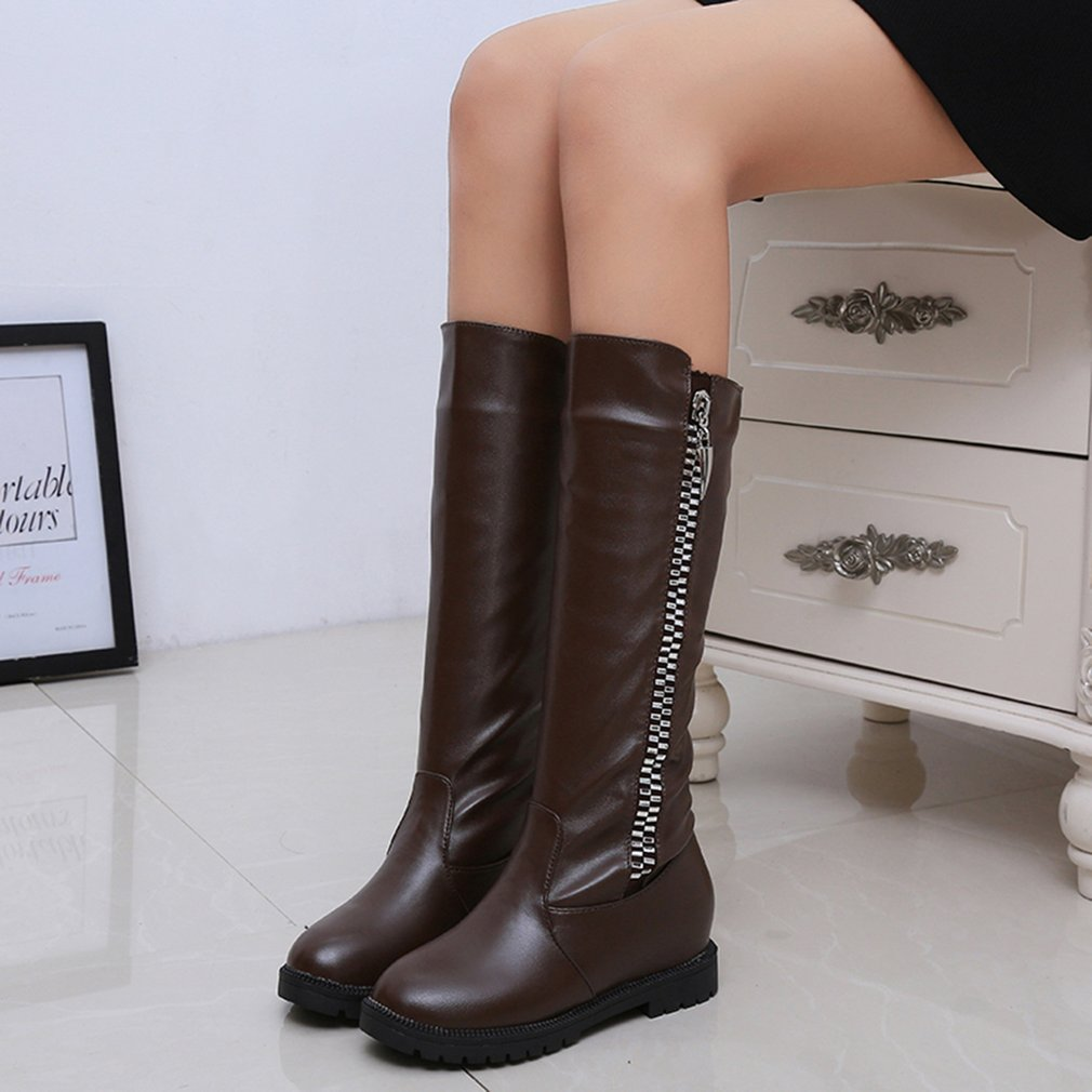 Low Heel High Boots Side Zipper Flat With Boots Autumn Winter Ladies Boots
