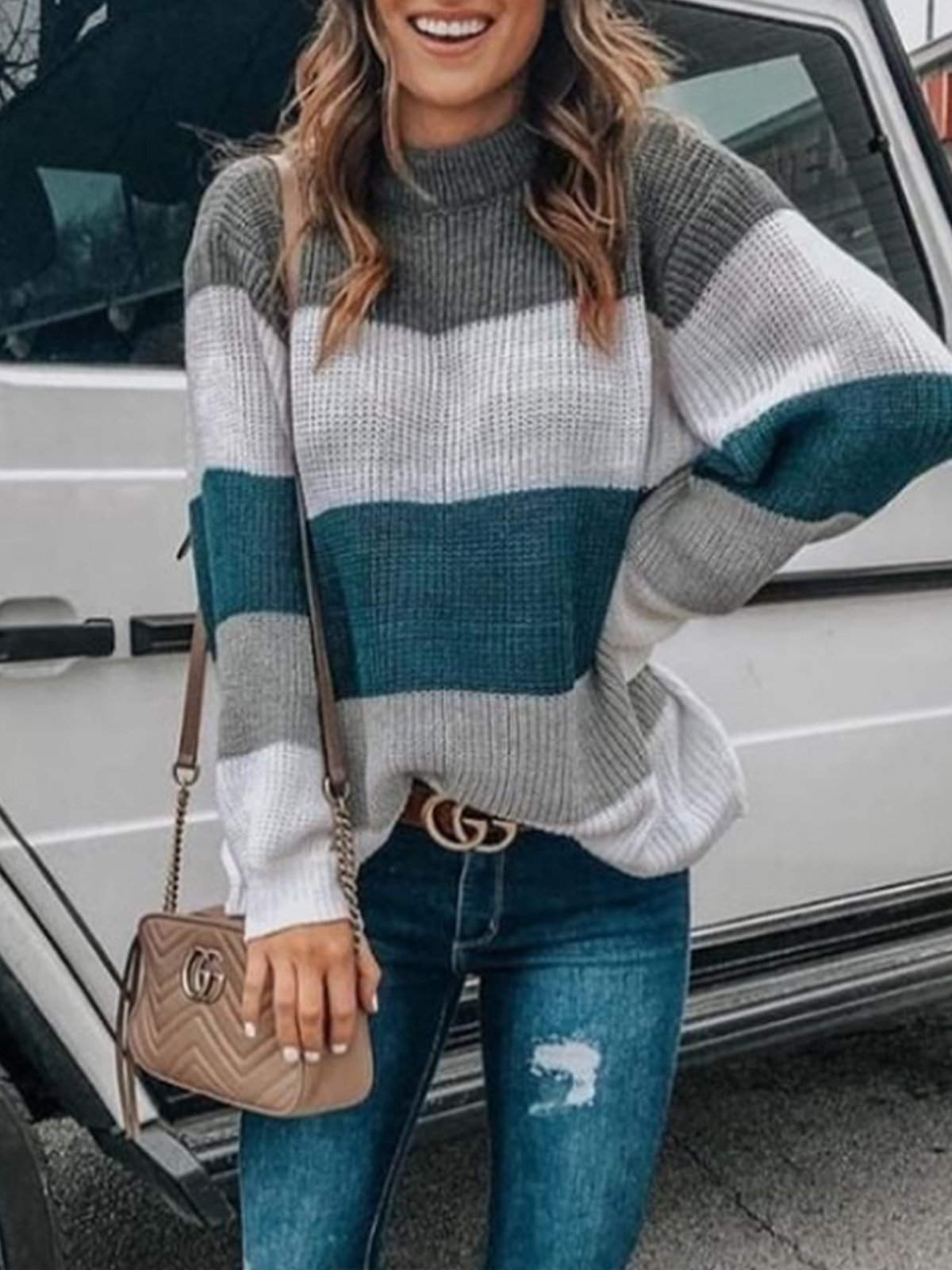 Color-Block Long Sleeve Crew Neck Sweaters