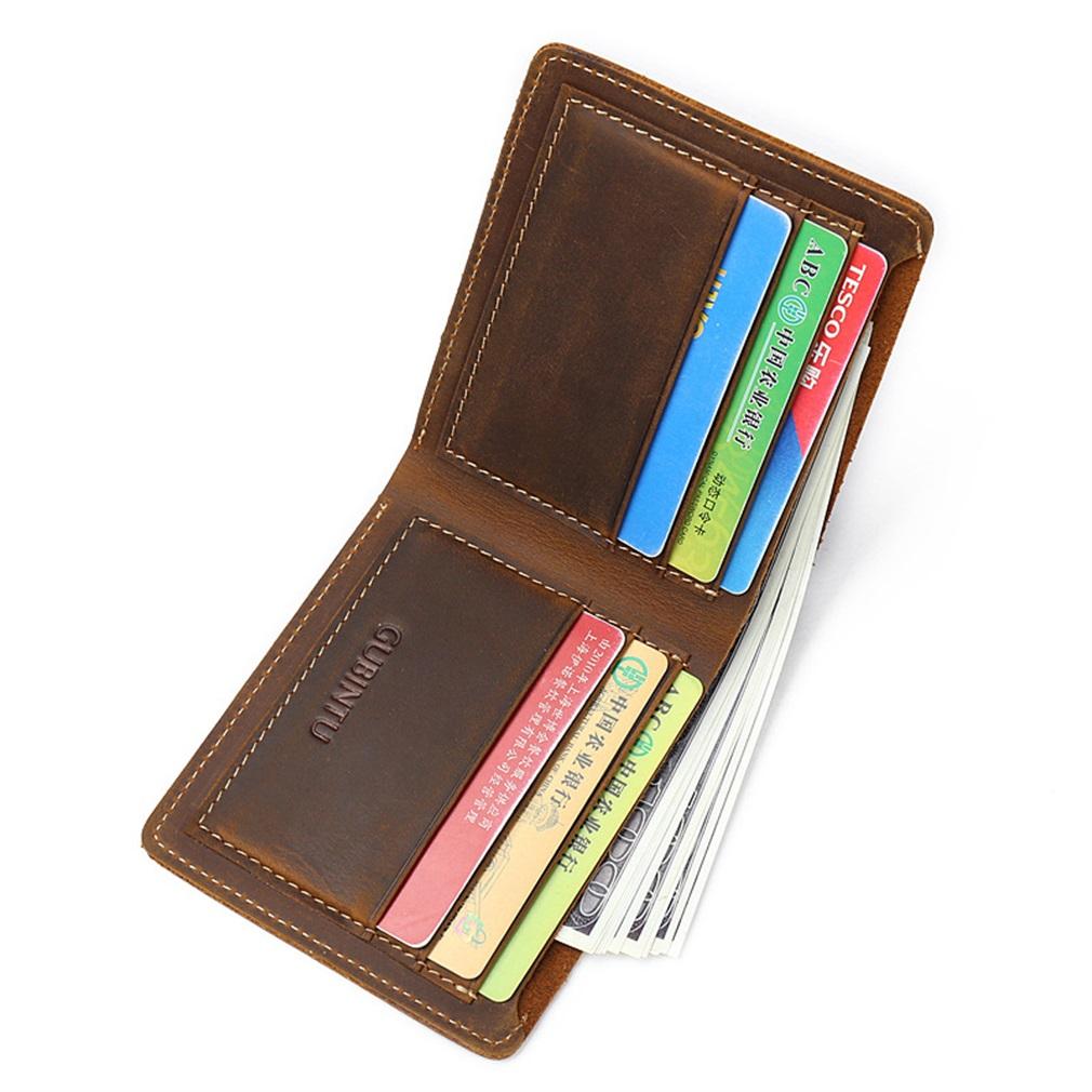 Vintage GUBINTU Men Short Style Money Organizer Wallet Solid PU Leather Wallet