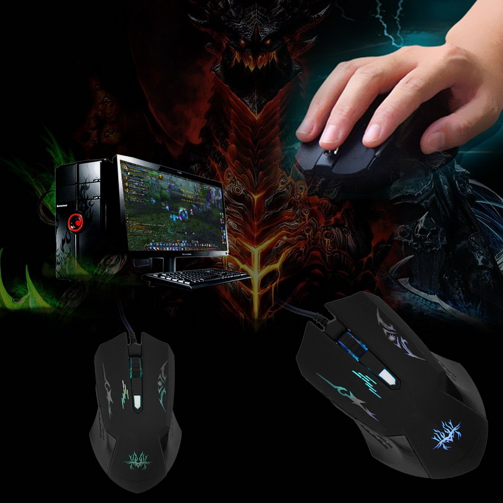 New 6 Buttons USB Optical Wheel Wired Gaming Mouse Pro Gamer Mouse for Laptops