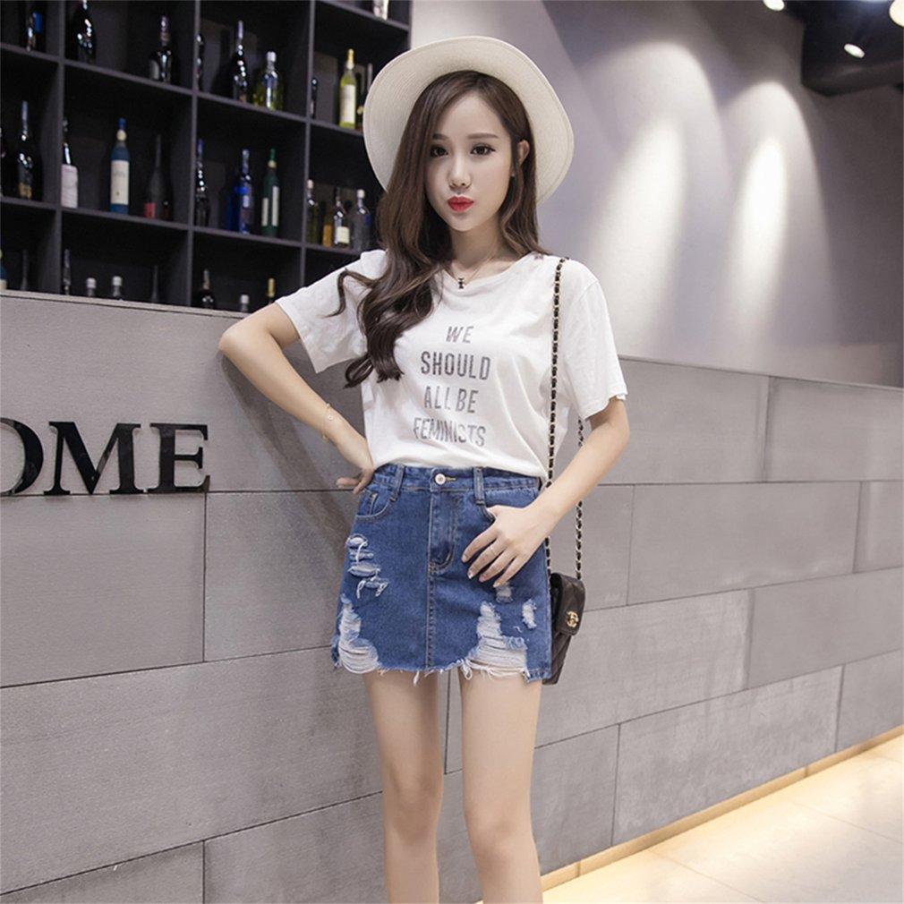 2017 Summer Korean Style All Match Clothes Women Slim Denim Skirt High Waist