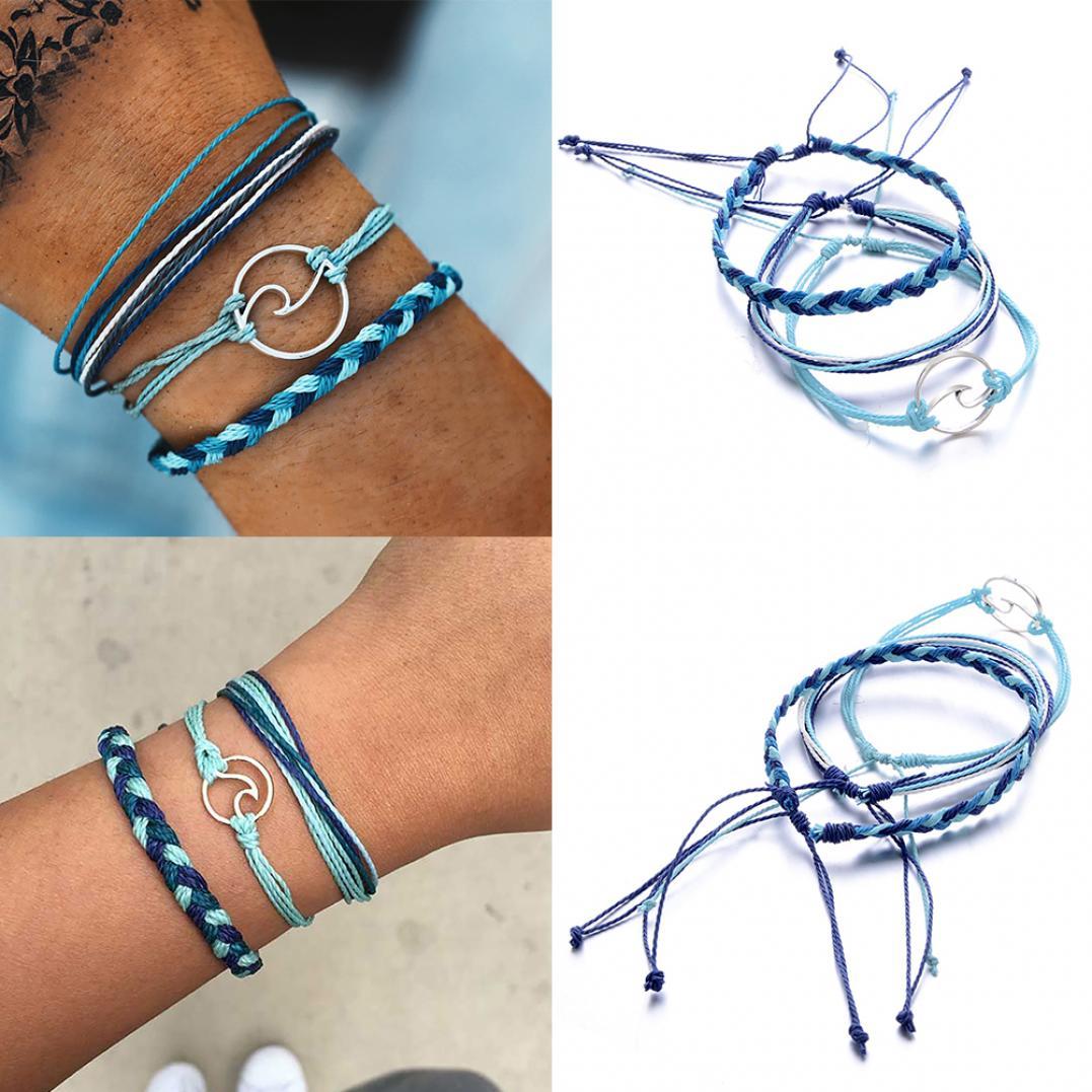 3Pcs/Set Multi-layer Women Rope Boho Beach Anklet Handmade Sea Wave Bracelet