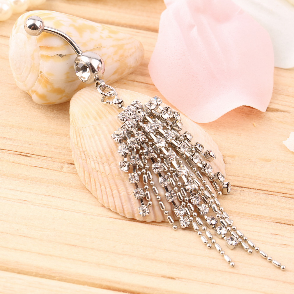 Women's Tassel Diamond Nail Hoop Belly Ring Jewlry