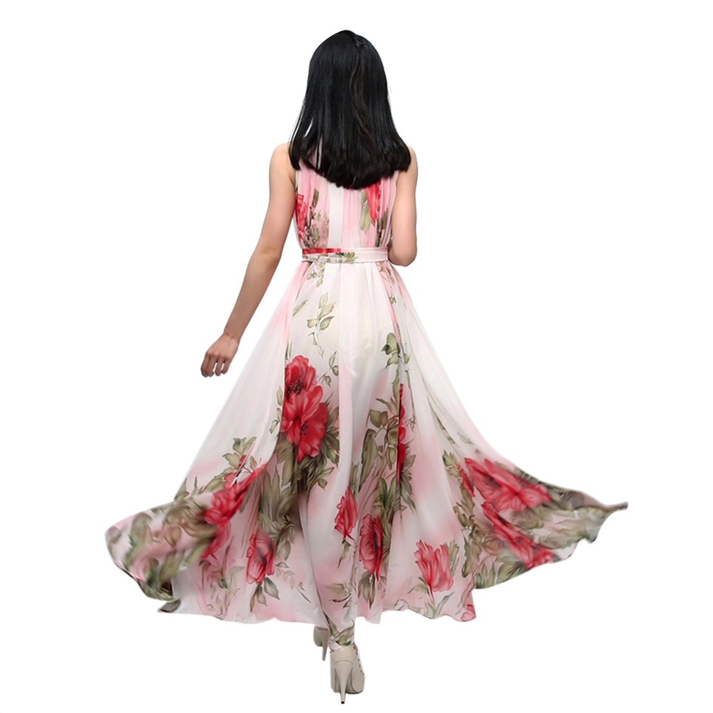 Flower Printed Women'S Summer Party Beach Fashion Halter Chiffon Dress Casual Lady Sleeveless Dress One Size