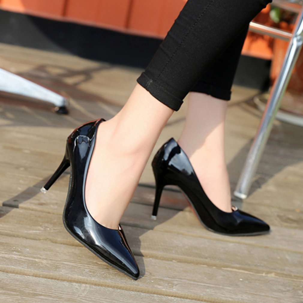 Women High Heel Shoes Soft Patent Leather Ladies Wedding Night Club Slip On Pointed Toe Fashion Thin Heel Shoes