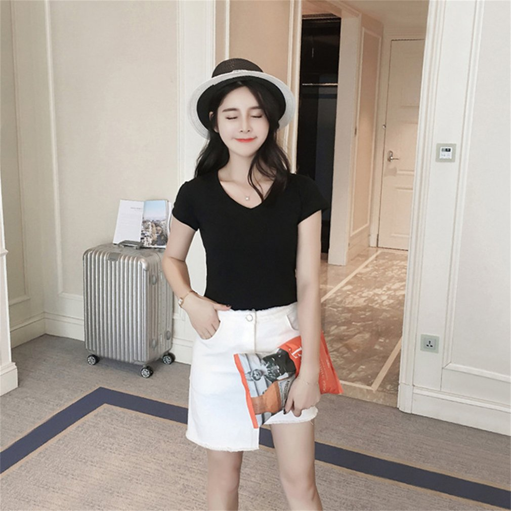 Women Elegant Solid Color Short-sleeved Sexy V-neck T-shirt Casual Slim Pullovers Summer Fashion Bottoming Tops Sweatshirt