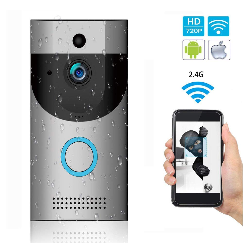 WiFi Video Doorbell with LED Ring HD Battery or AC Power PIR Detection Two-Way  Audio Talk Notification /Alert on Phone Motion Detect Recording on SD Card or Cloud
